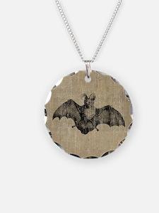 Vintage Bat Illustration Necklace