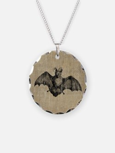 Vintage Bat Illustration Necklace Circle Charm