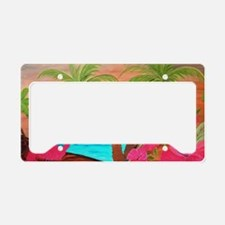 Flamingo in Paradise Art License Plate Holder