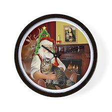 Santa  American Bobtail Cat Wall Clock