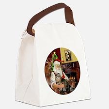 Santa  American Bobtail Cat Canvas Lunch Bag