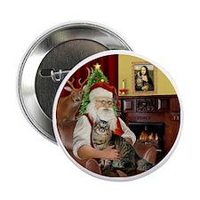 "Santa  American Bobtail Cat 2.25"" Button"