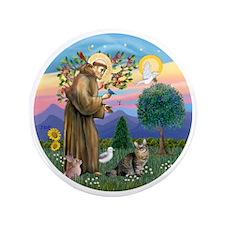 "St Francis  American Bobtail 3.5"" Button"