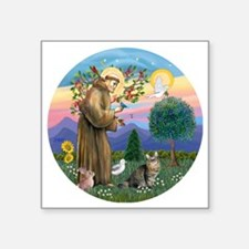 "St Francis  American Bobtai Square Sticker 3"" x 3"""