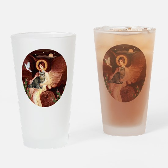 American Bobtail cat and Angel Drinking Glass