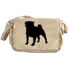 silhouette pug Messenger Bag