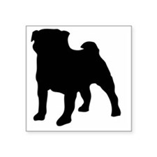 """silhouette pug Square Sticker 3"""" x 3"""""""