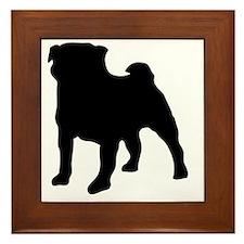 silhouette pug Framed Tile