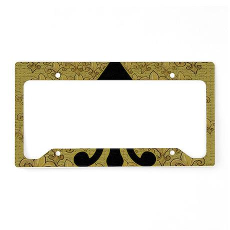 Black Fleur de lis and gold f License Plate Holder