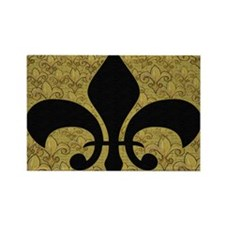 Black Fleur de lis and gold fleur Rectangle Magnet