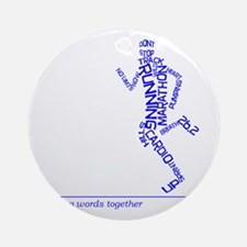 Running Man in Words (rwt) Round Ornament