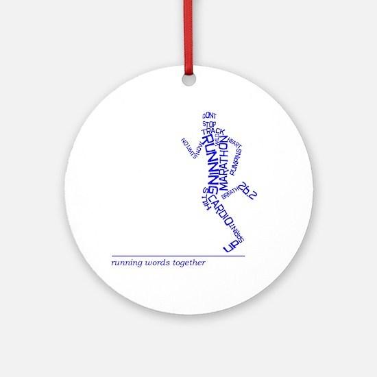 Running Man in Words (rwt) Round Ornament