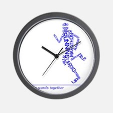 Running Man in Words (rwt) Wall Clock
