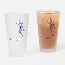 Running Man in Words (rwt) Drinking Glass