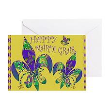 Happy Mardi Gras fleur de lis Greeting Card