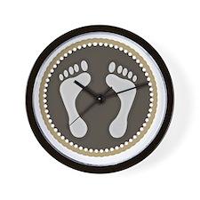 Cute Earthtone Feet Emblem Wall Clock