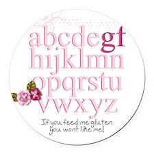 Gluten Free Alphabet Pink Round Car Magnet