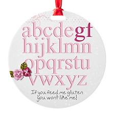 Gluten Free Alphabet Pink Ornament
