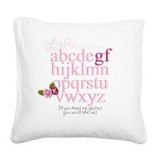 Gluten Free Alphabet Pink Square Canvas Pillow