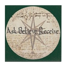 Ask Believe Receive Tile Coaster Trivet