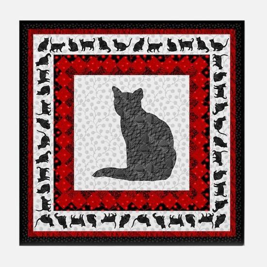 Textura Kitty #6 Tile Coaster