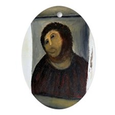 Jesus Fresco large Oval Ornament
