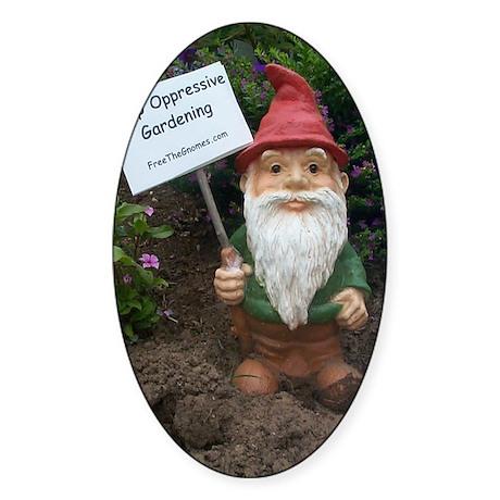 Protest Gnome Oval Sticker