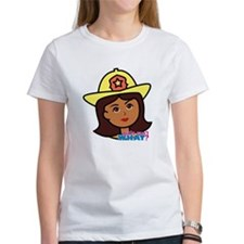 Firefighter Woman Head Dark Tee