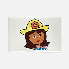 Firefighter Woman Head Dark Rectangle Magnet