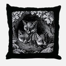 Vintage Foxes Throw Pillow