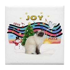 Xmas Music2 - Birman cat Tile Coaster