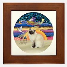 Christmas Angel-Birman cat Framed Tile