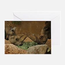 Rhinos crossed horns Greeting Card