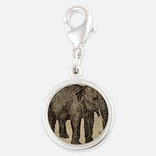 Vintage Elephant Silver Round Charm