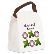 Hugs and Kisses with Onions and P Canvas Lunch Bag
