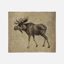 Vintage Moose Throw Blanket