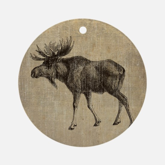 Vintage Moose Round Ornament