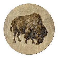 Vintage Bison Round Car Magnet
