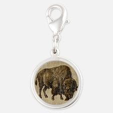Vintage Bison Silver Round Charm