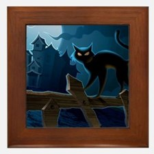 Black Cat, Halloween, Framed Tile