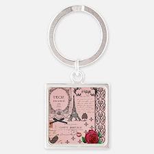 Vintage Pink Paris Collage Square Keychain