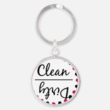 Dishwasher Magnet - Pink and Black Round Keychain