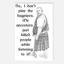 No Bagpipes Kilt Shirt Postcards (Package of 8)