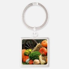 Pumpkins, Fall Themed, Square Keychain