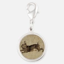 Vintage Rabbit Silver Round Charm