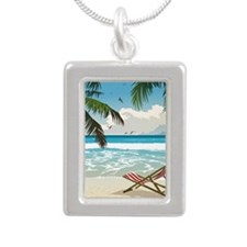Day at the Beach Silver Portrait Necklace