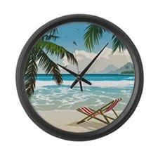 Day at the Beach Large Wall Clock