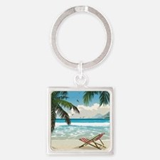 Day at the Beach Square Keychain