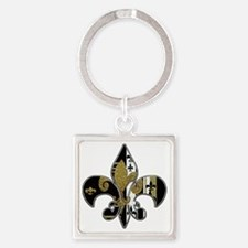 Fleur de lis bling black and gold Square Keychain