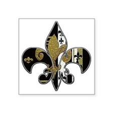 "Fleur de lis bling black an Square Sticker 3"" x 3"""